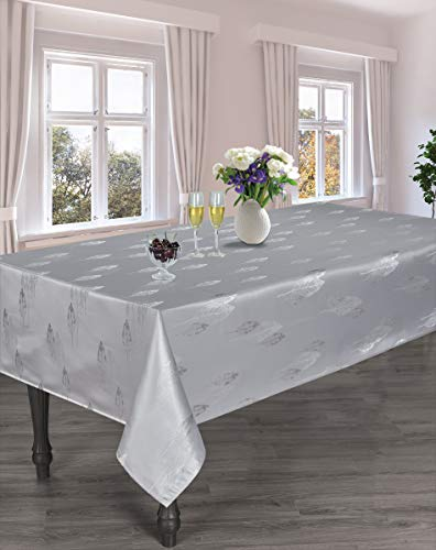 HomChic Jacquard Heavy Weight Soft Luxurious Long Lasting Spillproof Easy Care Tablecloth (Silver Grey, 60x60 Inch)
