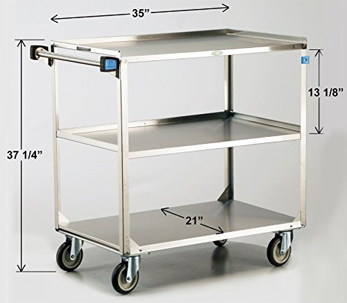 Lakeside 444 Stainless Steel Utility Cart; 500 Lb Capacity, 3 Shelf, 21