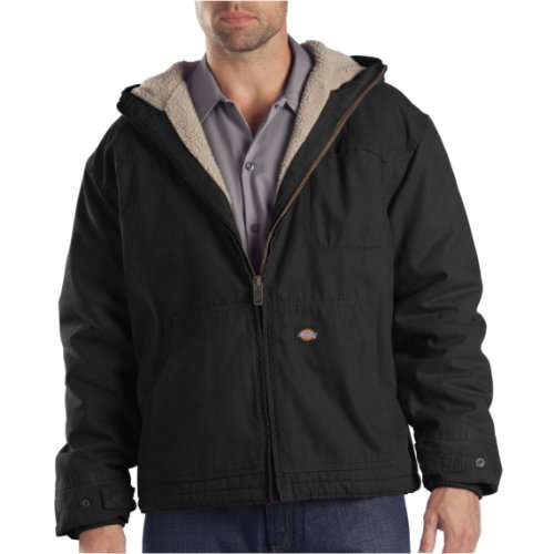 Dickies Men's Sanded Duck Sherpa Lined Hooded Jacket, Black, Medium