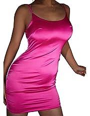 xxxiticat Women's Chic Sleeveless Satin Mini Dress Spaghetti Strap Stretch Bodycon Backless Short Cocktail Party Dresses