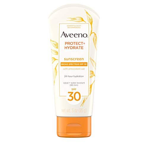 - Aveeno Protect + Hydrate Moisturizing Sunscreen Lotion with Broad Spectrum SPF 30 & Antioxidant Oat, Oil-Free, Sweat- & Water-Resistant Sun Protection, Travel-Size, 3 oz