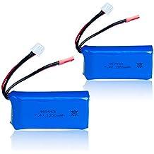 7.4V 1200mAh Lipo Battery for MJX X101 WLtoys V666 V353B UDI U829X RC Drone-Pack of 2