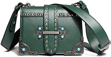 HEMFV クロスボディファッションリベットチェーンバッグシングルショルダーPUレザーサイド財布メッセンジャーバッグ女性と女の子のためのハンドバッグ (Color : Green)