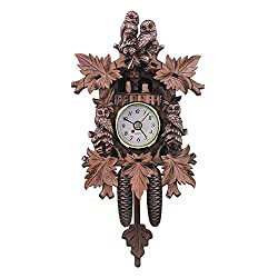 QZY Owl Bird Decorations Home Cafe Art Chic Swing Vintage Wood Cuckoo Wall Clock,A
