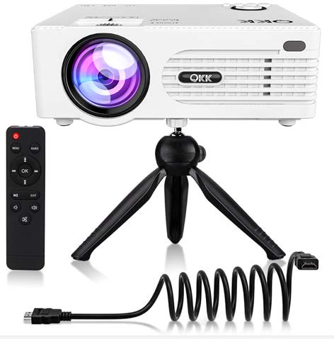 QKK [2019 Upgrade] Mini Projector [with Tripod] LED Projector Full HD 1080P Supported, 170 Display for TV Stick, Video Game, Blue Ray DVD Player, Smartphone Home Theater Entertainment, Dual USB Port
