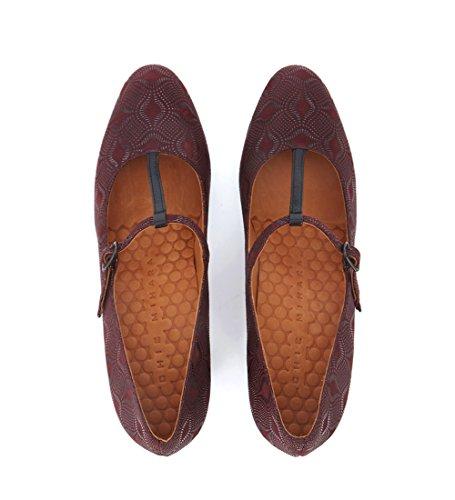 Zapato Piel Feijun Mihara Chie salón de en Morado Burdeos HqgfrHY