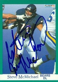 Steve McMichael autographed Football Card (Chicago Bears) 1991 Fleer #222 - NFL Autographed Football Cards