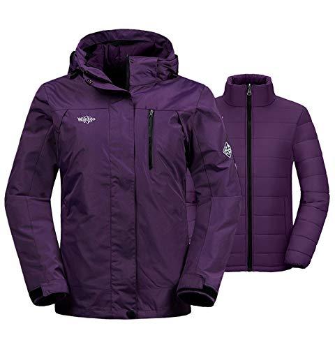 Wantdo Women's Windproof 3-in-1 Ski Jacket Waterproof Windbreaker with Detachable Puffer Liner Insulated Winter Coat for Skiing X-Large Dark Purple (Warmest Ski Jacket Women)