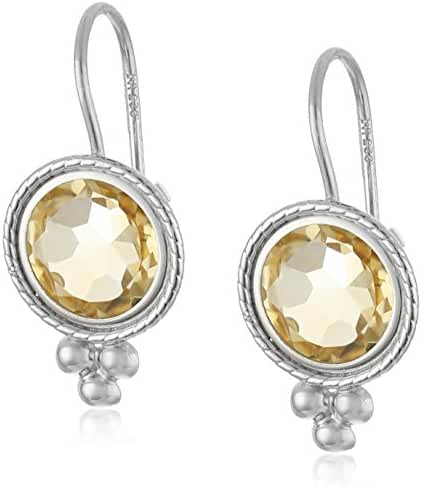 Rhodium-Plated Silver Round Dangle Earrings