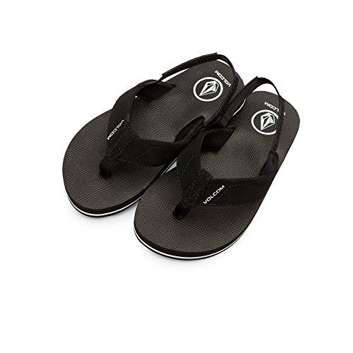 Nubuck Boys Sandals - Volcom Boys' Victor Youth Sandal Flip Flop, Black, 11 M US Little Kid