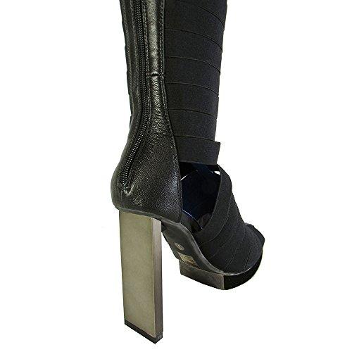 Jeffrey Campbell Femmes Acosta Genou Botte Haute Chaussure Étain Noir
