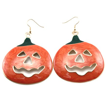 Large Jack-O-Lantern Halloween Pumpkin Metal Disc Hook Earrings