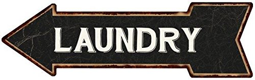 Laundry White on Black Left Arrow Vintage Looking Metal Sign 5x17 5170073 (Arrow Vintage Metal)