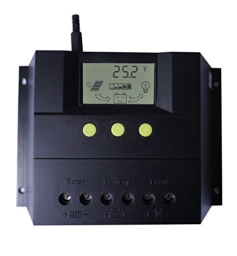(KRXNY 60A PWM Solar Charge Controller Solar Panel Charging Battery Regulator With LCD Monitor 12V 24V Auto Max 50V PV Input Temperature Compensation)