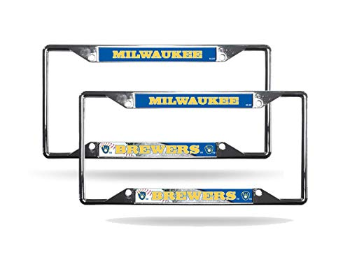 Rico Milwaukee Brewers MLB (Set of 2) Chrome EZ View License Plate Frames
