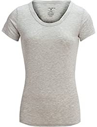 Womens Ladies Short Sleeves Basic Scoop Neck Lounge Top Shirt (See More Colors and Sizes