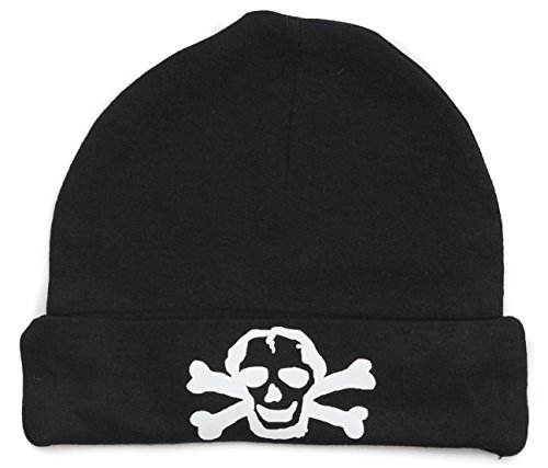 Crazy Baby Clothing White Scribble Skull Infant Baby Beanie Cap In Black