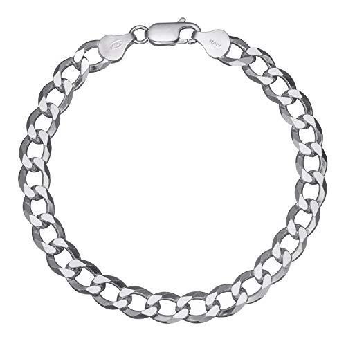 Solid 925 Sterling Silver Men's Heavy Italian 8mm Cuban Curb Link Chain Bracelet - 7