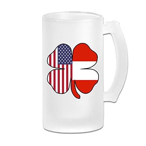 American Austrian Flag Shamrock Frosted Glass Stein Beer Mug - Personalized Custom Pub Mug - 16 Oz Beverage Mug - Gift For Your Favorite Beer Drinker