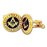 Masonic Square & Compass with Rhinestones Gold & Black Cufflink Set - 3/4'' Diameter