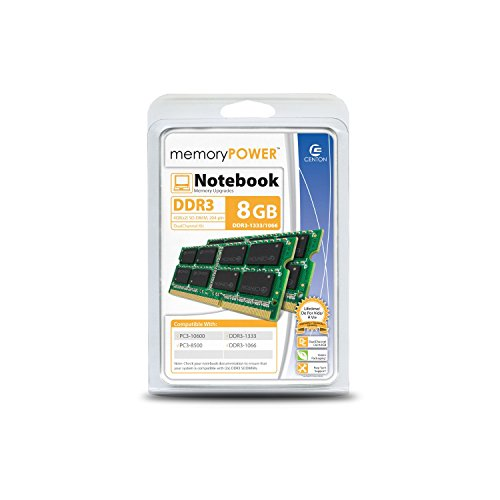 Centon Electronics 8GB KIT PC3-10600 (1333MT/S) 204 pin DDR3 SODIMM 8 DDR3 1333 (PC3 10600) DDR2 1333 R1333SO4096K2