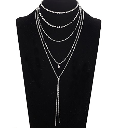 VUJANTIRY Sequins Chain Choker Necklace Multilayer Long Tassel Pendant Necklace Y (Silver) by VUJANTIRY