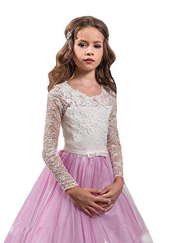Nina Pink Ivory Flower Girl Dresses Appliques Floor Length Cute Kids Party Prom Dress For Wedding Baby Toddler Tutu Gown (3) by Nina