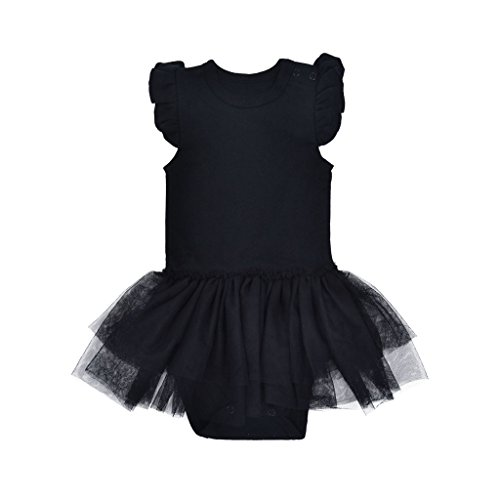 ROMPERINBOX Baby Girls Solid Little Black Dress Bodysuit 0-24 Months