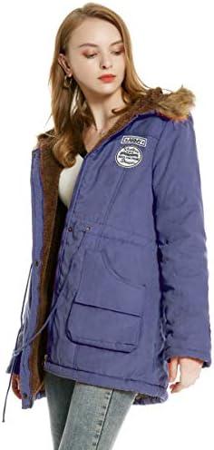 Abrigo cálido para mujer, parka de algodón, con capucha, de piel ...