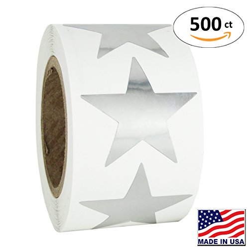 - Silver Metallic Star Shape Foil Sticker Labels, 500 Labels per Roll, 1 1/2 inch diameter, 1.5