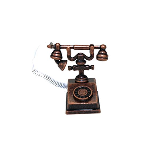 Gbell Mini Telephone Model for 1/12 Scale Miniature Kids Girls Dollhouse Accessories Toy (bronze)
