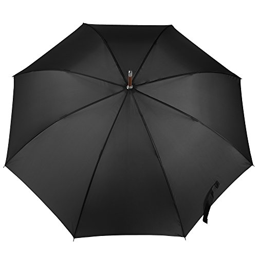 - Totes Auto Open Wooden Handle J Stick Umbrella, Black