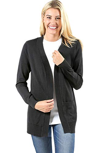 (Sportoli Cardigans for Women Open Front Knit Long Sleeve Pockets Sweater Cardigan -Black)