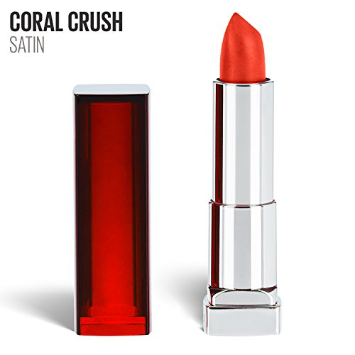 Maybelline New York Color Sensational Coral Lipstick, Satin Lipstick, Coral Crush, 0.15 oz