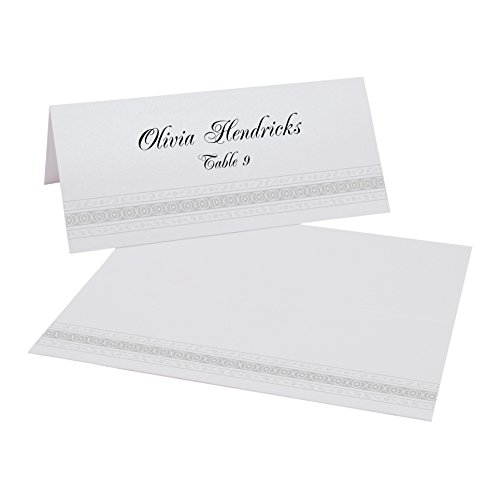 Mumbai Inspired Border Place Cards, Pearl White, Silver, Set of 375
