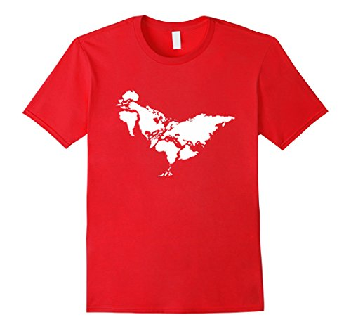 Men's Chicken T-Shirt, The Chicken World Funny Chicken Tee Shirts Large Red