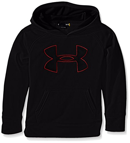 Under Armour Little Boys' Big Logo Hoodie, Black Red, 6