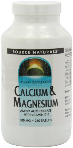 Source Naturals Calcium/Magnesium Chelate 200mg/100mg, 250 Tablets