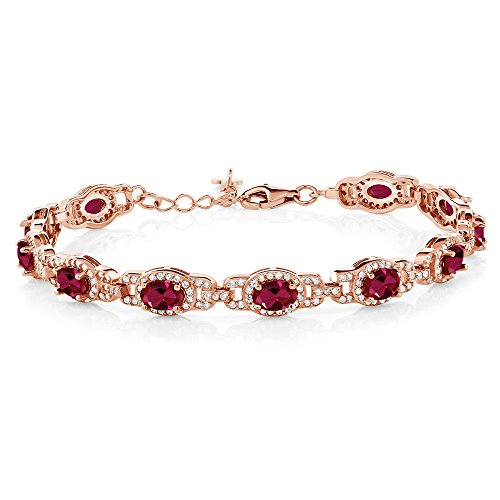 Gem Stone King 11.08 Ct Oval Red Created Ruby 18K Rose Gold Plated Silver 7 Inch Bracelet With 1 Inch Extender