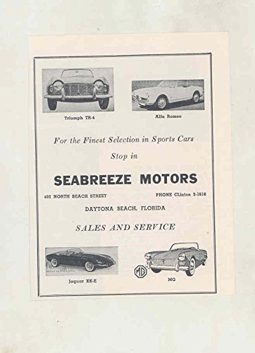 1963 Triumph TR4 Alfa Romeo Jaguar XKE MG Midget Daytona Beach Dealer Ad -