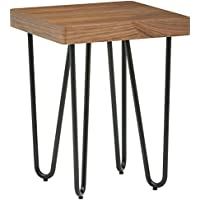 Rivet Hairpin Wood and Metal End Table, Walnut and Black
