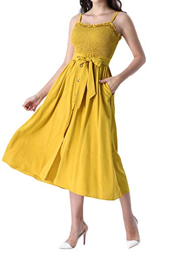 VFSHOW Womens Summer Yellow Ruffle Neck Spaghetti Strap Smocked Buttons Pockets Casual Beach Swing A-Line Midi Dress G2918 YEL XL