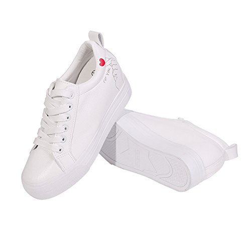 910e5f86883 Buganda Womens Casual Leather Sneakers Fashion Lace Up White Shoes Hidden  Heel Platform Sneaker Shoes
