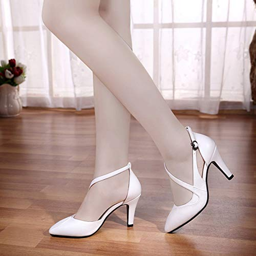 Femeninos Alto De Tamaño Mujeres De Zapatos Tacón White Femenina Salvaje Mujeres alto de De Yukun Hembra Las Zapatos Otoño tacón Zapatos Individuales PU Pequeño zapatos gxZqWOHX