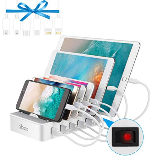 allcaca Fast Charging Station for Multiple Devices-Charging Station Family Charge Docking Station  Organizer with 6 USB Ports Mixed Cables-Compatible with iPhone iPad and Android Phone and Tablet