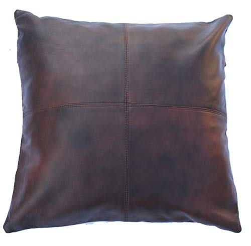 KYZER KRAFT Lambskin Leather Pillow Cushion Covers Brown