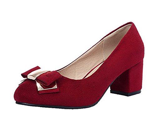 VogueZone009 Damen Rund Zehe Ziehen auf Mattglasbirne Rein Niedriger Absatz Pumps Schuhe Rot