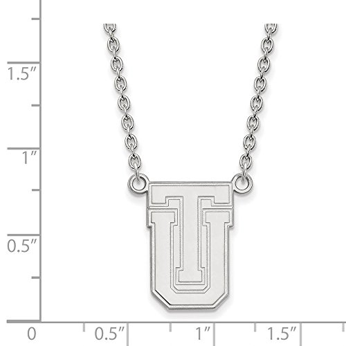Jewelry Stores Network Tulsa Golden Hurricane School Letters Logo Pendant Necklace in Sterling Silver L - (19 mm x 12 -
