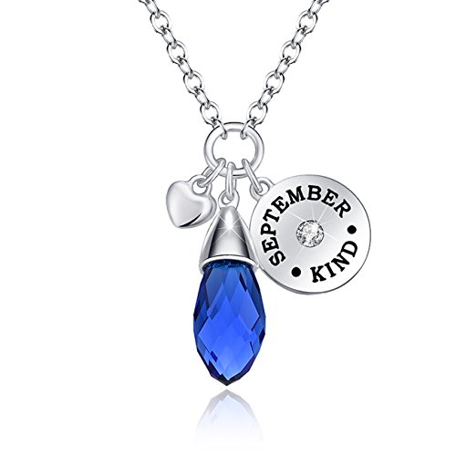 KIM S Simulated Blue Sapphire Birthstone Necklace Teardrop Pendant Elements Crystal September Birthday Jewelry Gifts for Women Girls Gifts for Wife for Her Colored Sapphire Diamond Bracelet
