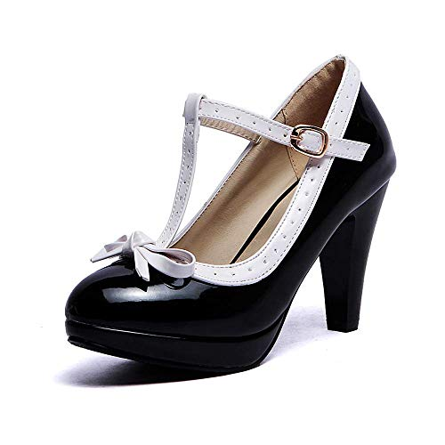 Lucksender Fashion T Strap Bows Womens Platform High Heel Pumps Shoes (12, Black2) ()